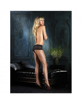 Leg Avenue Fencenet Mesh Pantyhose Tights With Boyshort Lace Top
