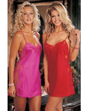 Shirley Of Hollywood Chemise Lace Up Sides Cherry Red Passion Pink