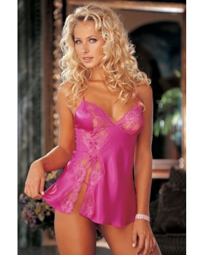 Shirley Of Hollywood Lace Babydoll Passion Pink