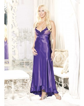Shirley Of Hollywood Charmeuse and Net Long Gown 20474 Purple