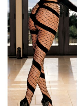 Shirley Of Hollywood Fishnet Swirl Stripe Tights