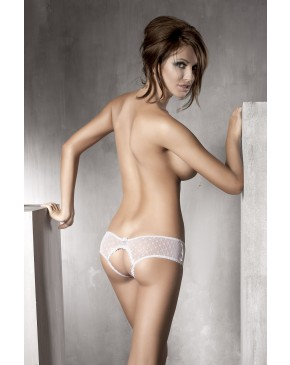 Anais Kitten Sheer Crotchless Lace Knickers White Rear