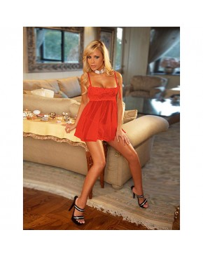 Lace and Mesh Babydoll Red