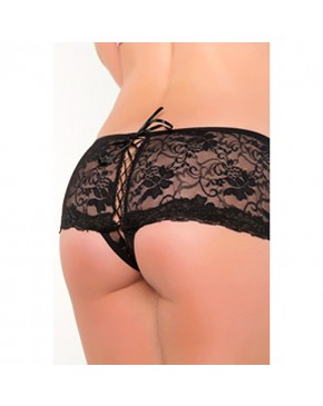 Seven til Midnight Thong With Back Lace-Up Black
