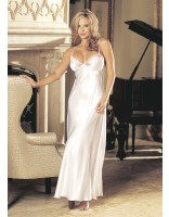 Shirley Of Hollywood Charmeuse and Lace Long Gown 20300 White