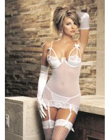Shirley Of Hollywood Stretch Mesh and Stretch Lace Gartered Chemise Set 3048