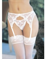 Shirley Of Hollywood Embroidered Scallop Suspender Belt 622 White