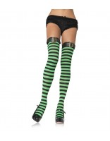 Leg Avenue Thigh High Striped Stockings with Belt Buckle Top