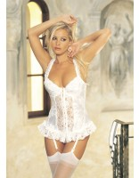 Shirley Of Hollywood Satin Tapestry Flowered Jacquard Long Line Bustier 9393 White
