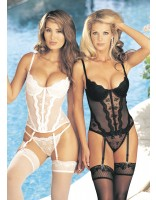 Shirley Of Hollywood Padded Push Up Bustier 9407 White, Black
