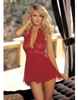 Shirley Of Hollywood Stretch Mesh and Lace Babydoll With Bow 96164 Red