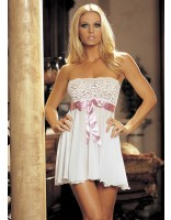 Shirley Of Hollywood Tie Front Stretch Lace and Mesh Babydoll 96273 White