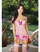 Shirley Of Hollywood Sheer Mesh With Ruffles and Bows Chemise and Stockings Set 96284 Pink