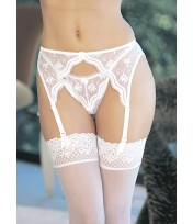Shirley Of Hollywood Embroidery Scallop Suspender Belt 622